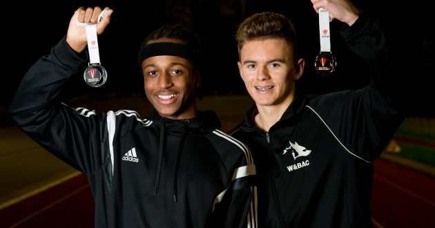 WOLVERHAMPTON COPYRIGHT EXPRESS & STAR JAMIE RICKETTS 02/02/2016  Medal Winners - Psalm Roberts-Nash 16 and Ellis Greatrex 16 finished 2nd and 1st in the finals of the Welsh Senior 400m at Cardiff on Sunday just gone.  Pictured here with their medals at W&B Athletics Club, Aldersley Stadium in Wolverhampton.